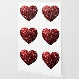 Red Glitter sparkles Heart on white Wallpaper