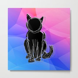 Black Cat - geometric background Metal Print