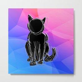 Black Cat - geometric background Metal Print