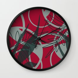 Flower geometric Rings Design - red Wall Clock