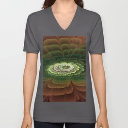 Abstract Flower Brown And Green, Fractal Art Unisex V-Neck