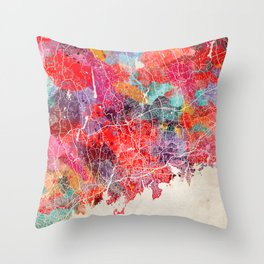 Stamford map Connecticut painting 2 Throw Pillow