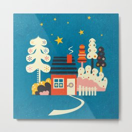 Festive Winter Hut Metal Print