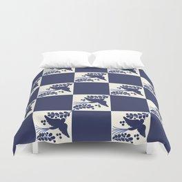Talavera Blue Bird, Mexican Style Tile // Mexico Festive Traditional Motif Duvet Cover
