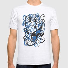 Happy doodle do! Blue version Mens Fitted Tee Ash Grey LARGE