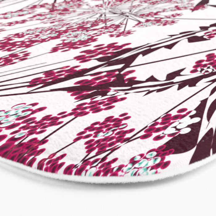 Laced crimson flowers on a white background. Bath Mat