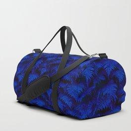 Deep Blue Fern Plant Wall Duffle Bag