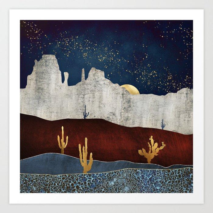 e2dd89e71de Moonlit Desert Art Print by spacefrogdesigns