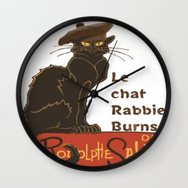Le Chat Rabbie Burns With Tam OShanter Wall Clock