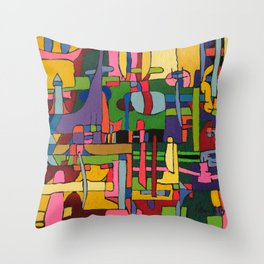 Colors in Collision 3 - Geometric Abstract of Colors that Clash Throw Pillow