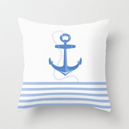 AFE Dark Blue Nautical Anchor Throw Pillow