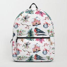 Christmas watercolor pattern. Backpack