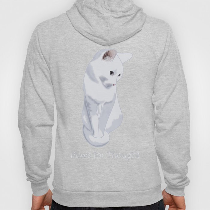 Paws for Thought - White Cat Sitting Hoody