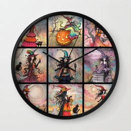 Halloween Witches by Molly Harrison Fantasy Art Wall Clock