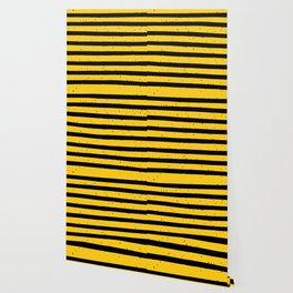 Black Yellow Vintage Stripes Pattern Wallpaper