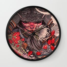 Female Samurai Warrior Wall Clock