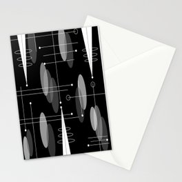 Atomic Space Age Black Stationery Cards