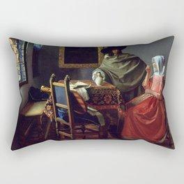 """Johannes Vermeer """"A Lady Drinking and a Gentleman"""" Rectangular Pillow"""