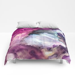 Purple Fusion - Mixed Media Painting Comforters