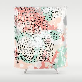 Phoebe - abstract painting minimal gender neutral trendy nursery decor home office art Shower Curtain