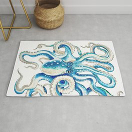 Blue Octopus Crosshatch Watercolor Comic Rug
