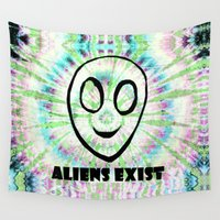 aliens Wall Tapestries featuring aliens exist. by Late Bloomer