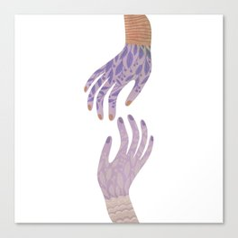 Reach Out,vintage pink floral hands illustration Canvas Print
