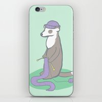 ferret iPhone & iPod Skins featuring Knitting Ferret by Noreen Torelli