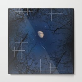 A Moon lit forest Metal Print