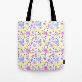Butterflies With Roses and Flowers Hand Painted In Watercolors and Gouche Tote Bag
