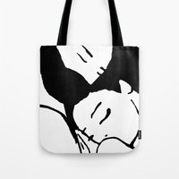 hug Tote Bags featuring Hug by Sara Setti