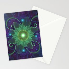 Glowing Blue-Green Fractal Lotus Lily Pad Pond Stationery Cards