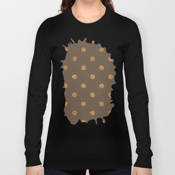 Umber Gold Glitter Dot Pattern Long Sleeve T-shirt