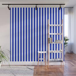 Cobalt Blue and White Vertical Deck Chair Stripe Wall Mural