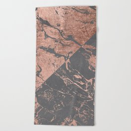 Modern rose gold marble inverted color block grey cement concrete Beach Towel