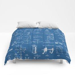 Table Of Engineering And Mechanics Blueprint Artwork Comforters