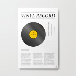 The Iconic Vinyl Record (White, Yellow) Metal Print