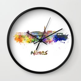 Nimes skyline in watercolor  Wall Clock