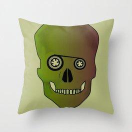 skull casette print Throw Pillow
