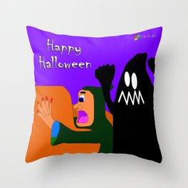 Scaredy Witch Throw Pillow