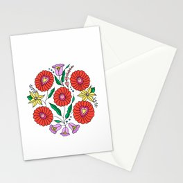 Hungarian embroidery inspired pattern white Stationery Cards