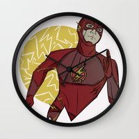 the flash Wall Clocks featuring Flash by Charleighkat