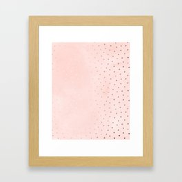 Rose Gold Pastel Pink Foil Paint Line Dots XXIII Framed Art Print