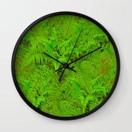 ABSTRACTED  GREEN  TROPICAL FERNS GARDEN ART Wall Clock