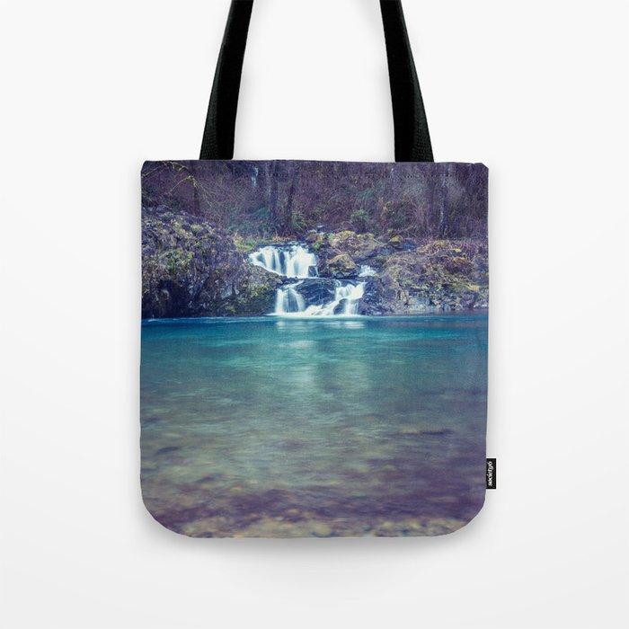Teal Blue Waterfall Cove Tote Bag
