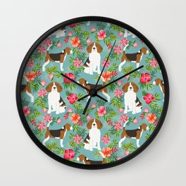 Beagle hawaiian dog pattern tropical pattern cute gifts for dog lover dog breeds Wall Clock
