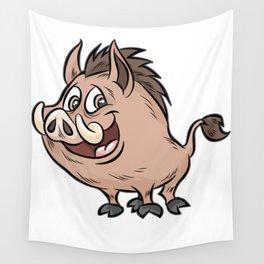 HAPPY WILD BOAR Wart Hog Comic Wall Tapestry