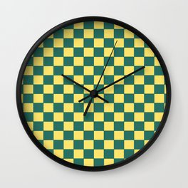 Checkers - Green and Yellow Wall Clock