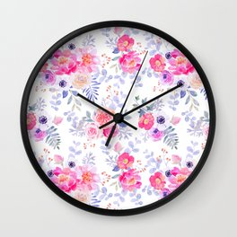 Pink lavender watercolor hand painted roses floral Wall Clock