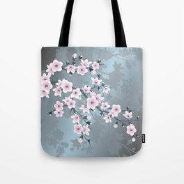 Dusky Pink Grayish Blue Cherry Blossom Tote Bag
